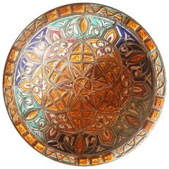 Metal and Camel Bone Inlaid Moroccan Hand-Painted Plate, Multi-Color