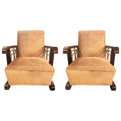 Pair of Art Deco Chrome and Rosewood Arm or Lounge Chairs