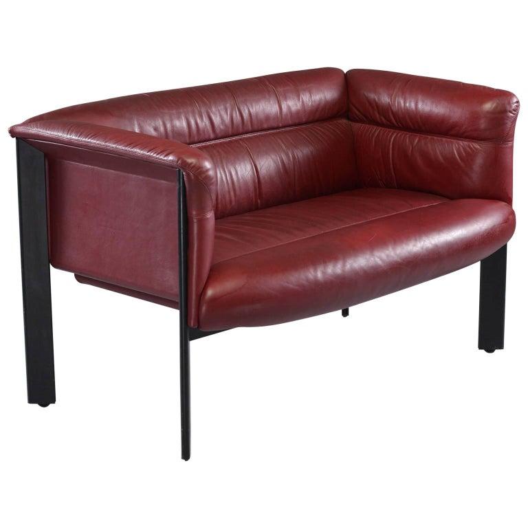 Mid-Century Modern Burgundy Leather Settee