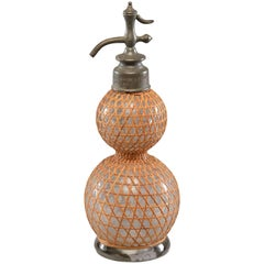 Antique French Syphon Bottle with Rattan Cover