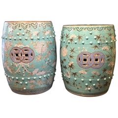 Pair of 19th Century Chinese Turquoise and Grisaille Porcelain Garden Stools