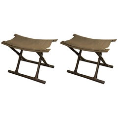 Pair of Wooden Stools with Leather Seats