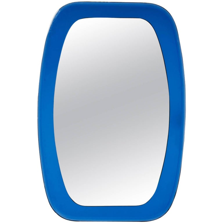 Shaped Beveled Blue Mirror, Italy, 1970s For Sale