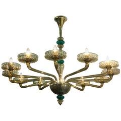 Elegant Murano Chandelier Amber and Emerald Handblown Glass Venini, 1960