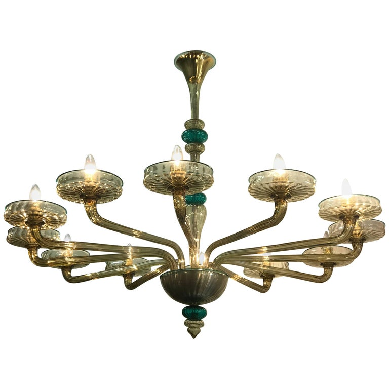 Elegant Murano Chandelier Amber and Emerald Handblown Glass Venini, 1960