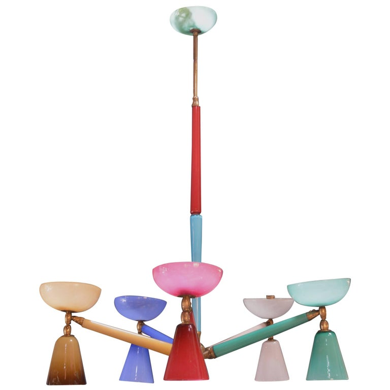 Multicolored Murano Glass Chandelier in the Style of Gio Ponti