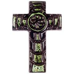 Wall Cross, Green Painted Ceramic, Handmade in Belgium, 1970s