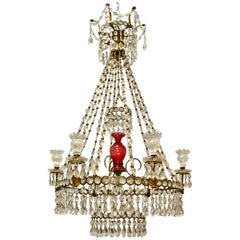 19th Century English Gilt and Cranberry Glass Chandelier