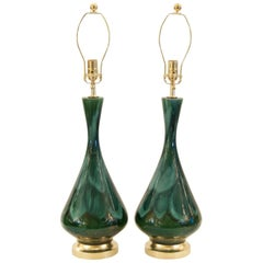 Royal Haeger Blue and Green Drip Glaze Lamps with Gilt Hardware