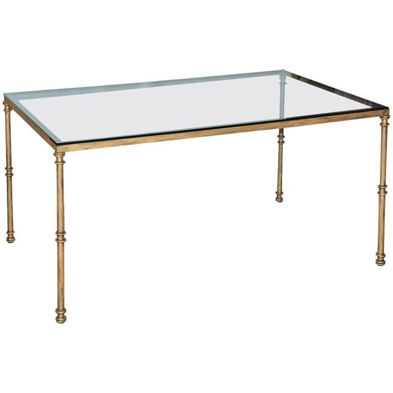 Gold Gild Metal Base Glass Top Dining Table For