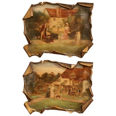 Pair of Early 20th Century Paper-Mache Decorative Wall Paintings