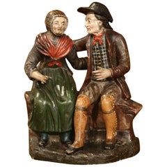 19th Century French Hand-Painted Ceramic Sculpture of Old Couple