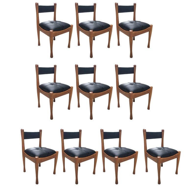 Set of Ten Italian Chairs by Silvio Coppola for Bernini For Sale