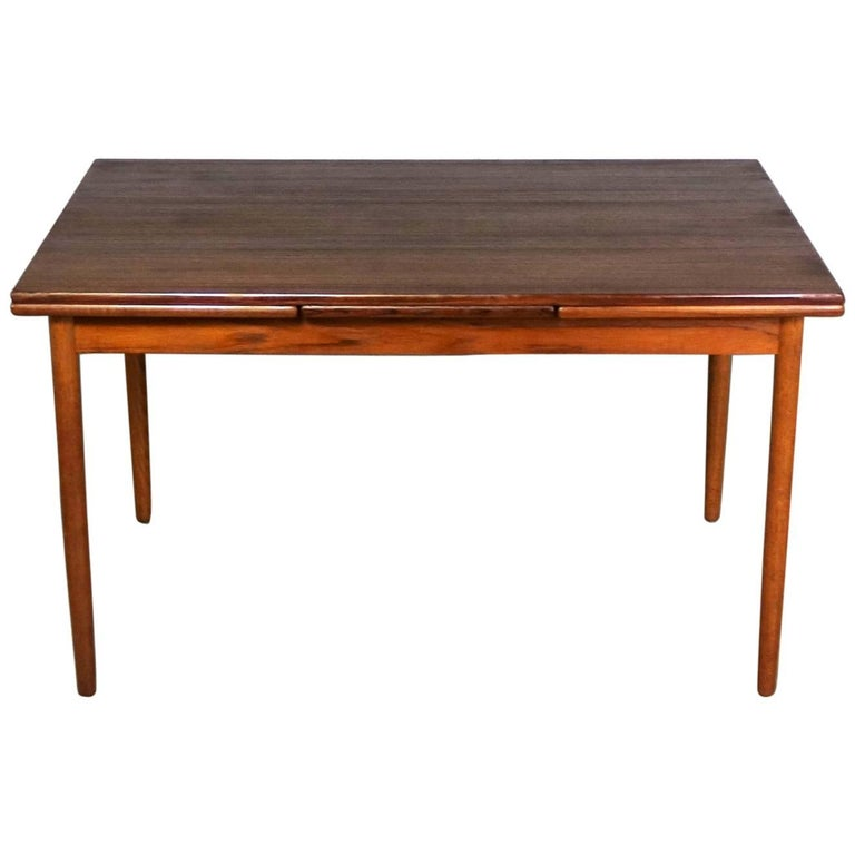 Midcentury Scandinavian Modern Teak Draw-Leaf Extending Dining Table Rectangle