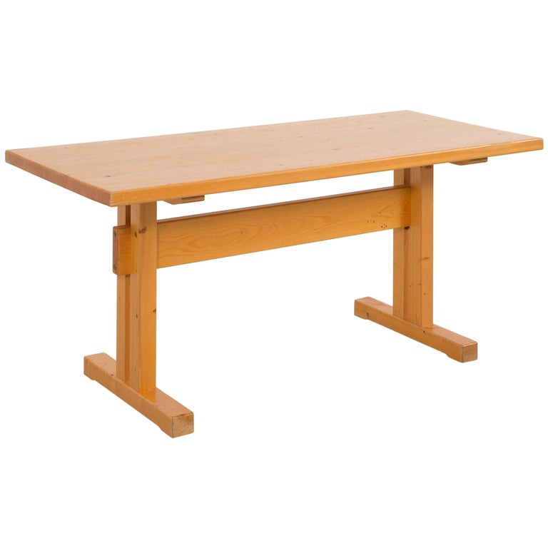Les Arcs Pine Dining Table by Charlotte Perriand