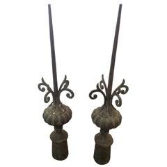 Pair of Tall Iron Finials as Found Art Sculpture