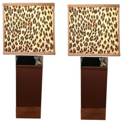 Fabulous Ralph Lauren Leather and Chrome Lamps with Custom Animal Fabric Shades