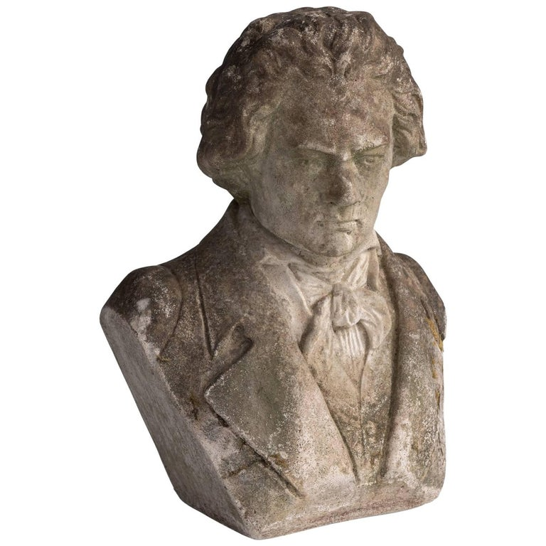 Reconstituted Stone Bust of Beethoven, circa 1960