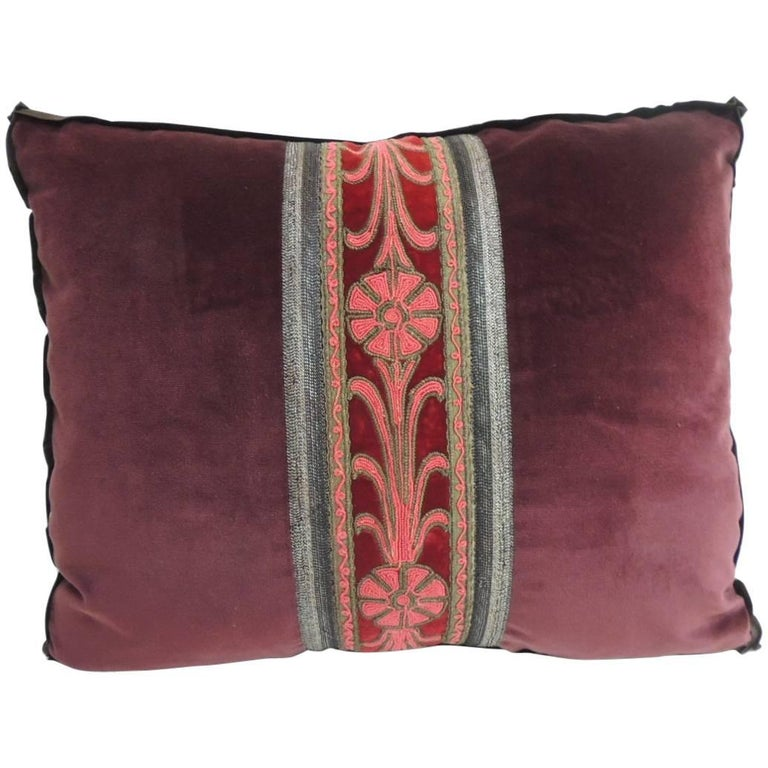 40th Century French Red And Silver Metallic Trim Decorative Bolster Awesome Decorative Trim For Pillows