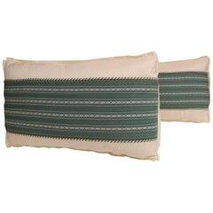 Pair of Vintage Japanese Green Obi Decorative Lumbar Pillows