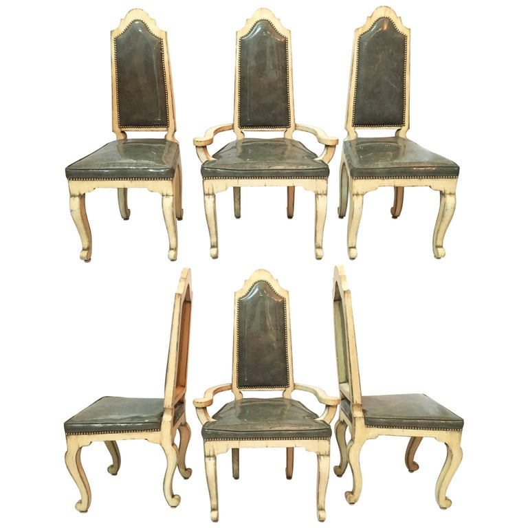Mid Century Cathedral Dining Chairs, Set of Six