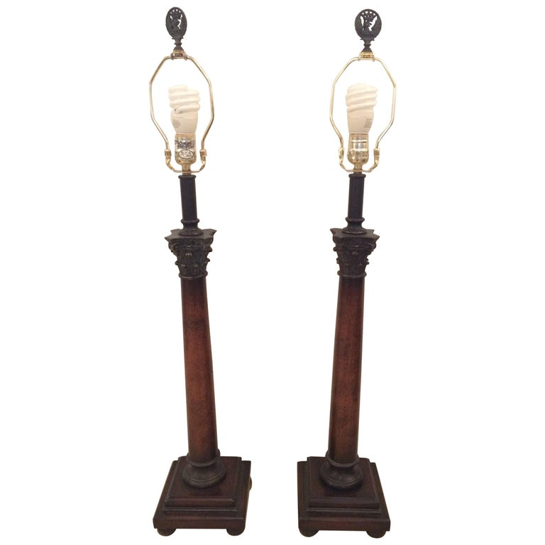 Gorgeous Corinthian Column Neoclassical Style Pair of Table Lamps