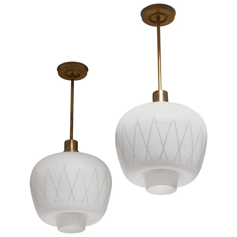 Pair of Glass and Brass Pendants, Sweden, 1950s For Sale