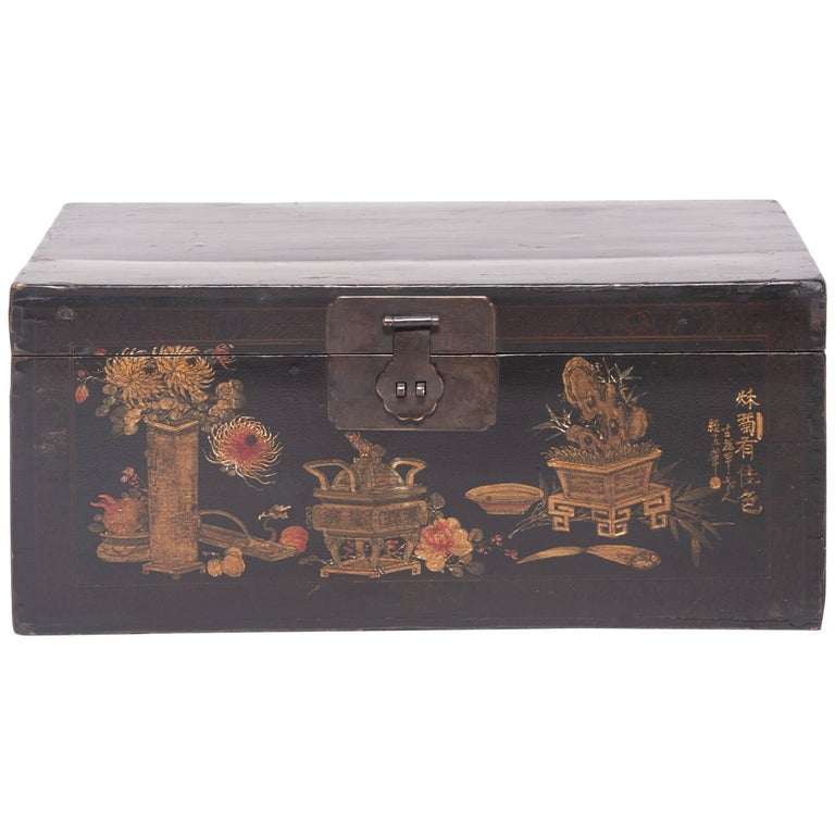 """""""Autumn Offerings"""" 19th Century Chinese Painted Trunk"""
