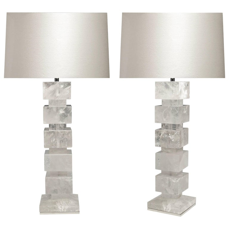 Larger Pair of Block Form Rock Crystal Lamps