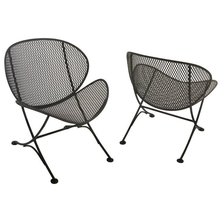 Pair of Outdoor Patio Iron Lounge Chairs Mid-Century Modern by Salterini