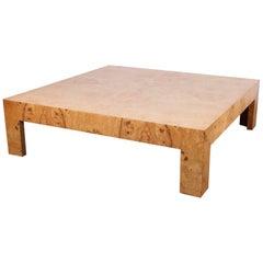 Large Milo Baughman Burl Coffee Table