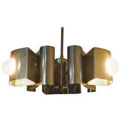 French Midcentury Three-Light Chandelier Metal Pendant Light
