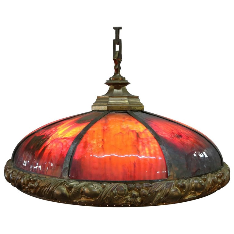Arts & Crafts Bradley & Hubbard School Slag Glass Dome Chandelier, circa 1910 For Sale