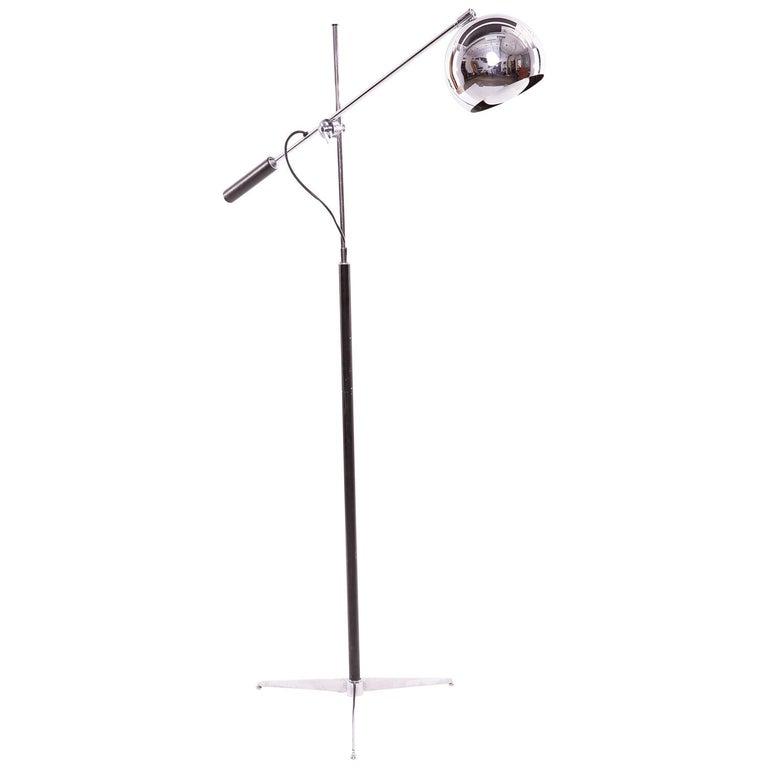 Arteluce Chrome Leather and Enamel Floor Lamp