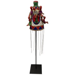 Yoruba Nigeria African Royal Beaded Headdress Crown on Stand