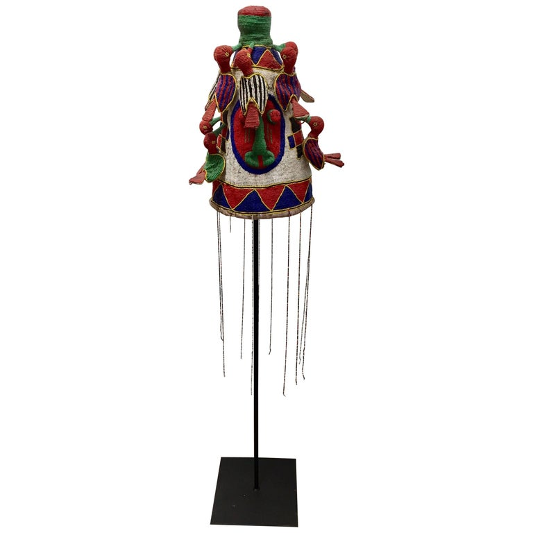 Yoruba Nigeria African Royal Beaded Headdress Crown on Stand