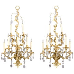 Oversized French Rococo Foliate Form Gilt Bronze Cut Crystal Wall Sconces