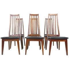 Midcentury Danish Modern Tall Teak Wood Spindle Back Dining Chairs