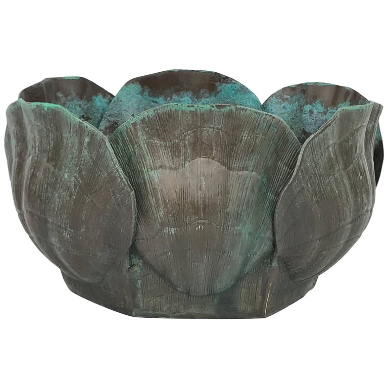 Large Brass Shell Planter in Verdigris Patina
