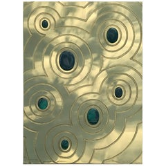Etched Brass and Malachite Wall Sculpture