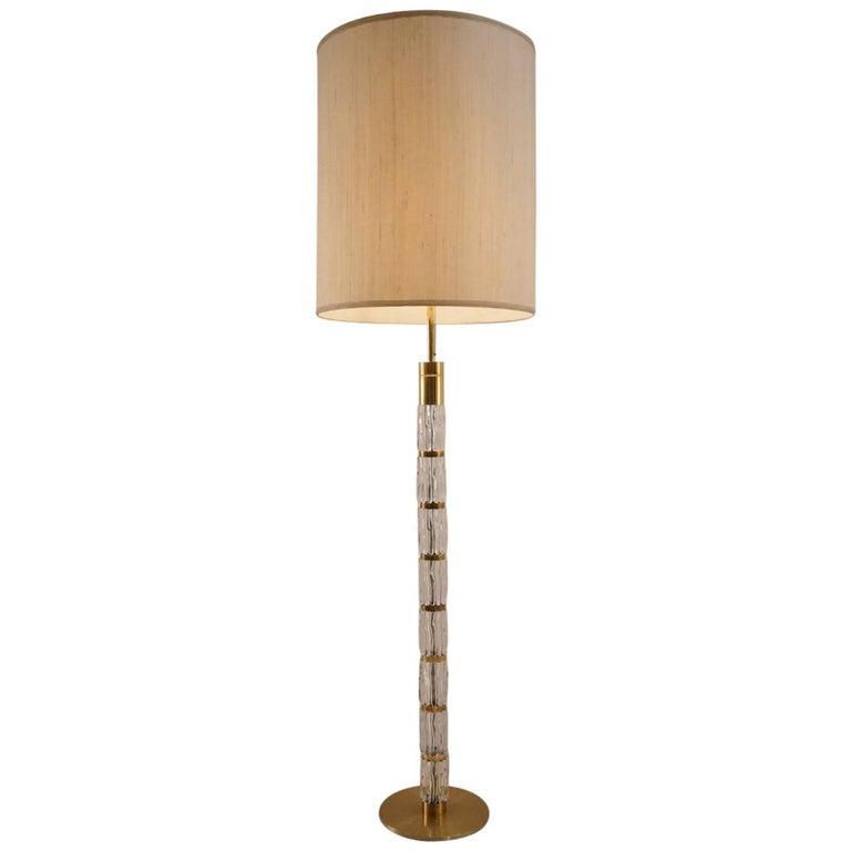 Kalmar Floor Lamp Brutalist Glass and Brass, circa 1970s, German