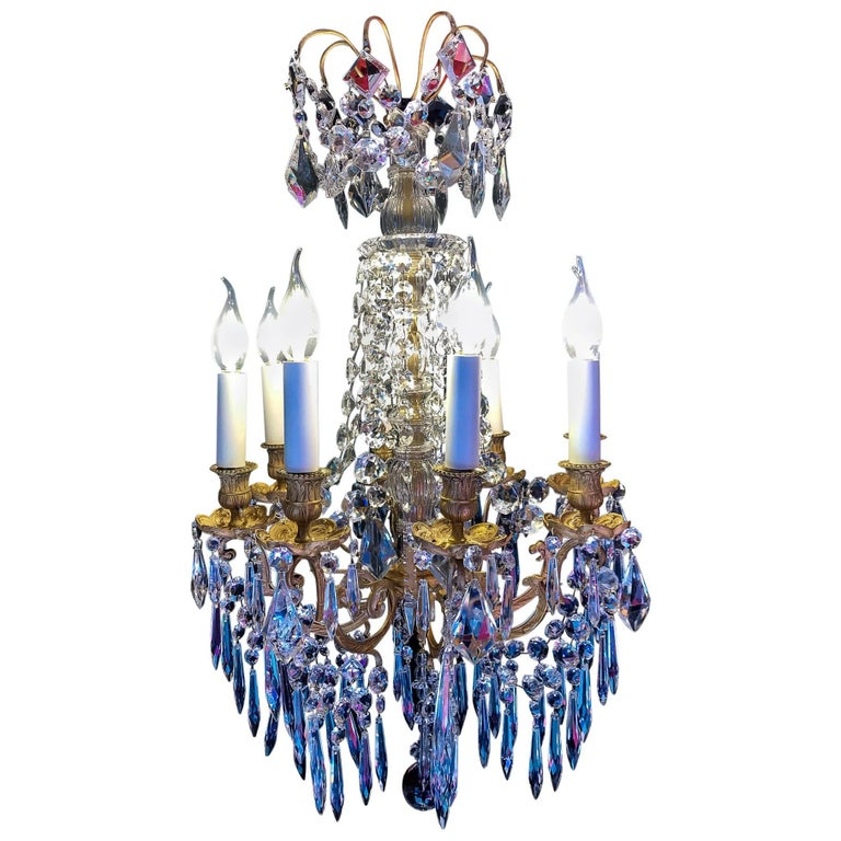 Sign by Baccarat, Late 19th Century Ormolu and Crystal Small Chandelier