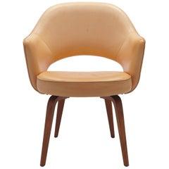 Vintage Vegetal Leather Eero Saarinen, Knoll Conference Armchair