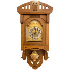 VFU Art Nouveau Oak Wall Clock
