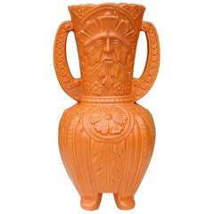Ceramic Green Man Vase with Double Handle, Mid-20th Century