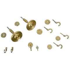 Set of Ten Brass Wall Hooks, Germany, 1950s