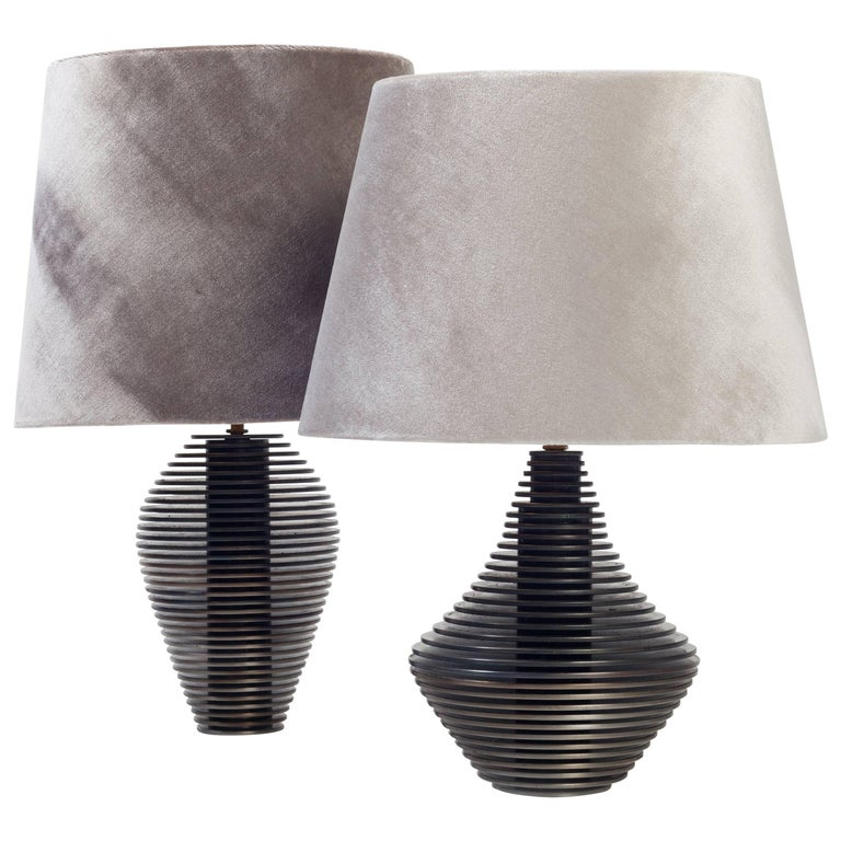 Pair of Disk Table Lamps by Harry Clark