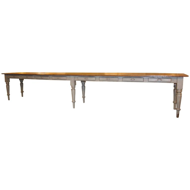 multi drawer long table from a quebec 14 5 feet long at 1stdibs