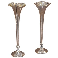 Pair of Edwardian Silver Bud Vases