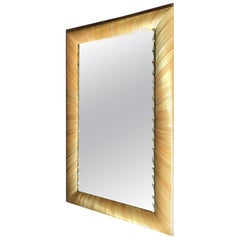 Unique French Brass and Golden Straw Marquetry Mirror